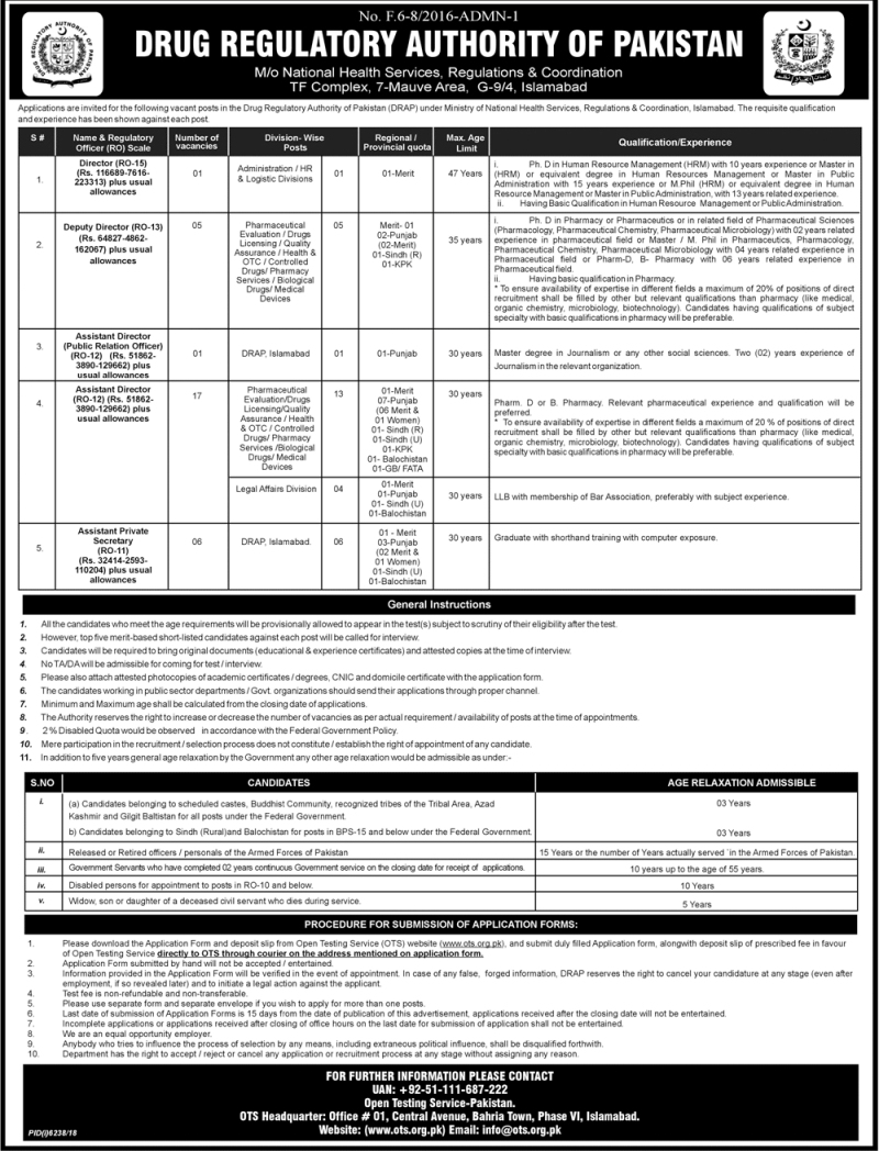 OTS Jobs 2019 Drug Regulatory Authority of Pakistan Dawn Newspaper