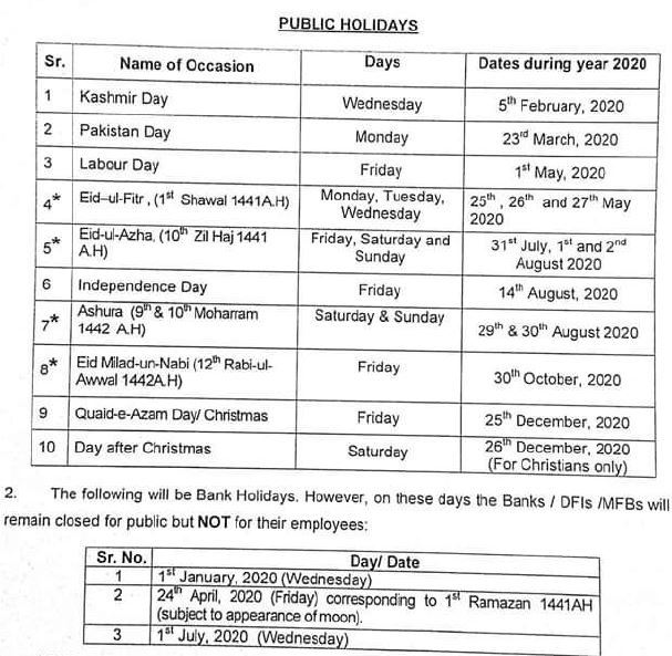 Public Holidays 2020 Leaves in Pakistan