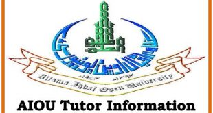 AIOU Tutors Information 2020 Allama Iqbal Open University