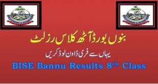 Bannu 8th Class Result Annual 2020