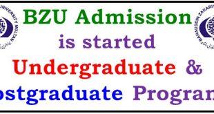 BZU Admission Undergraduate 2021