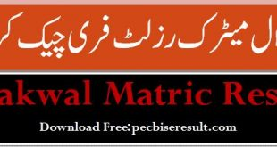 Bise Chakwal Matric Result 2020 Online