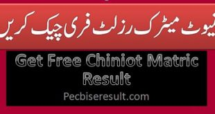 Board Result of SSC / 10th Class District Chiniot 2020