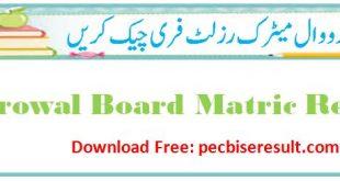 Bise Narowal Board Matric Result 2020