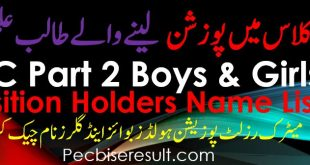 All BISE Boards Matric Result Position Holders Name 2020