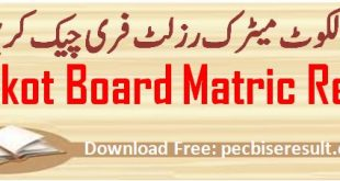 Bise Sialkot Board Matric Result 2020