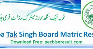 TobaTak Singh Matric Result 2020 Online