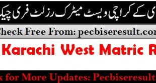West Board Karachi Matric Result 2020 Science Group
