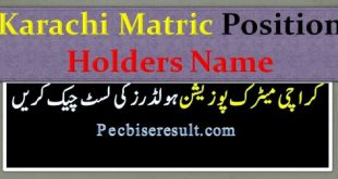 Karachi 10th Class Result Position Holders