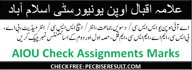 AIOU Assignments Scores/Marks