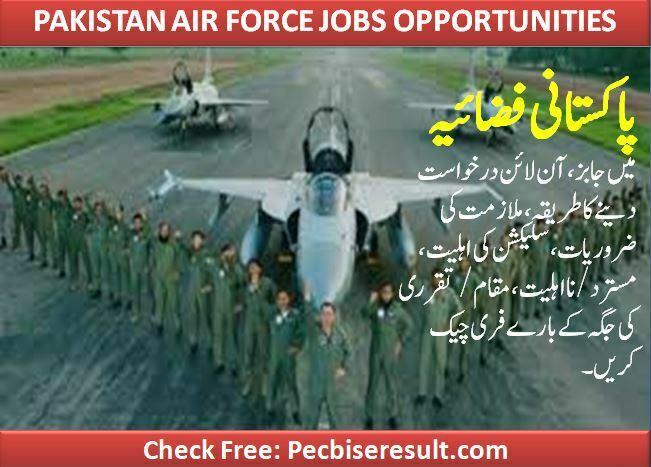 April 07 date of vacancies in Pakistan air force 2021