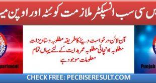 SUB INSPECTOR Punjab Police Departments Jobs 2020