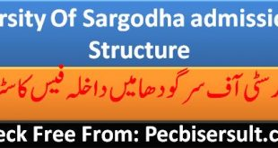 University Of Sargodha admission Fee Structure 2020