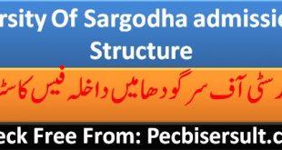 University Of Sargodha admission Fee Structure 2020