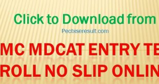 PMC National MDCAT Entry Test Roll No Slip 2020