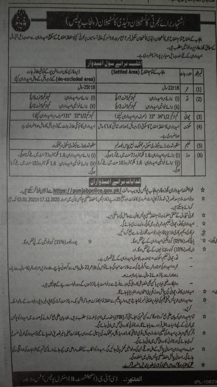 Constable or Lady Constable new Jobs 2020