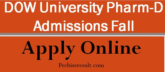 Pharm-D Admissions in DOW university 2020-21