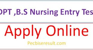 B.S Nursing or DPT Entry Test 2020