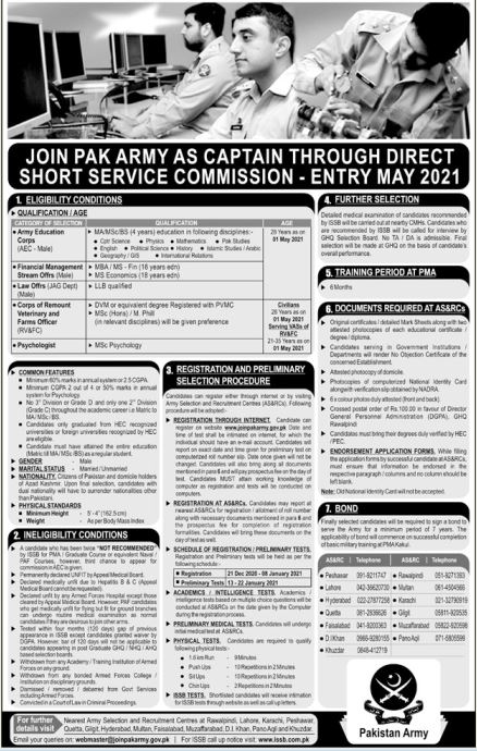Captain in Army Department Advertisement 2020