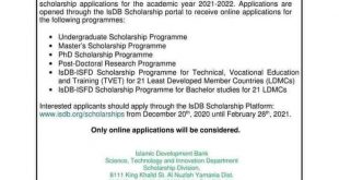 ISBD Scholarship for undergraduate program 2021