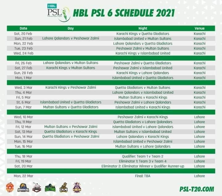 Pakistan Supper League Matches Schedule