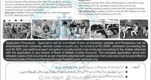 Inter Semester Admission fall in UVAS University Lahore