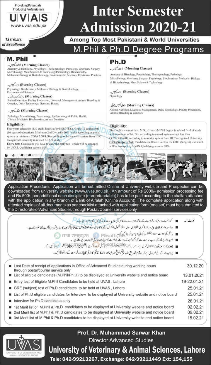 Inter Semester Admission fall in UVAS University Lahore