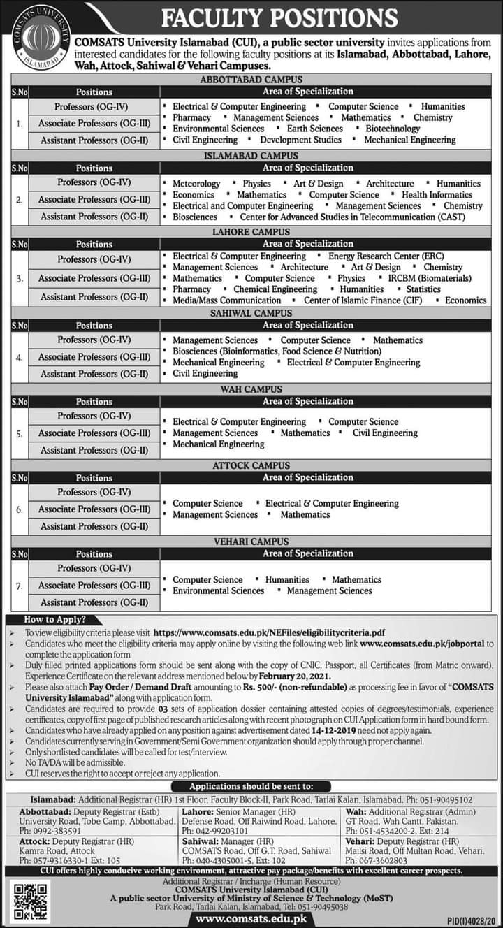 COMSATS University of Islamabad positions faculty