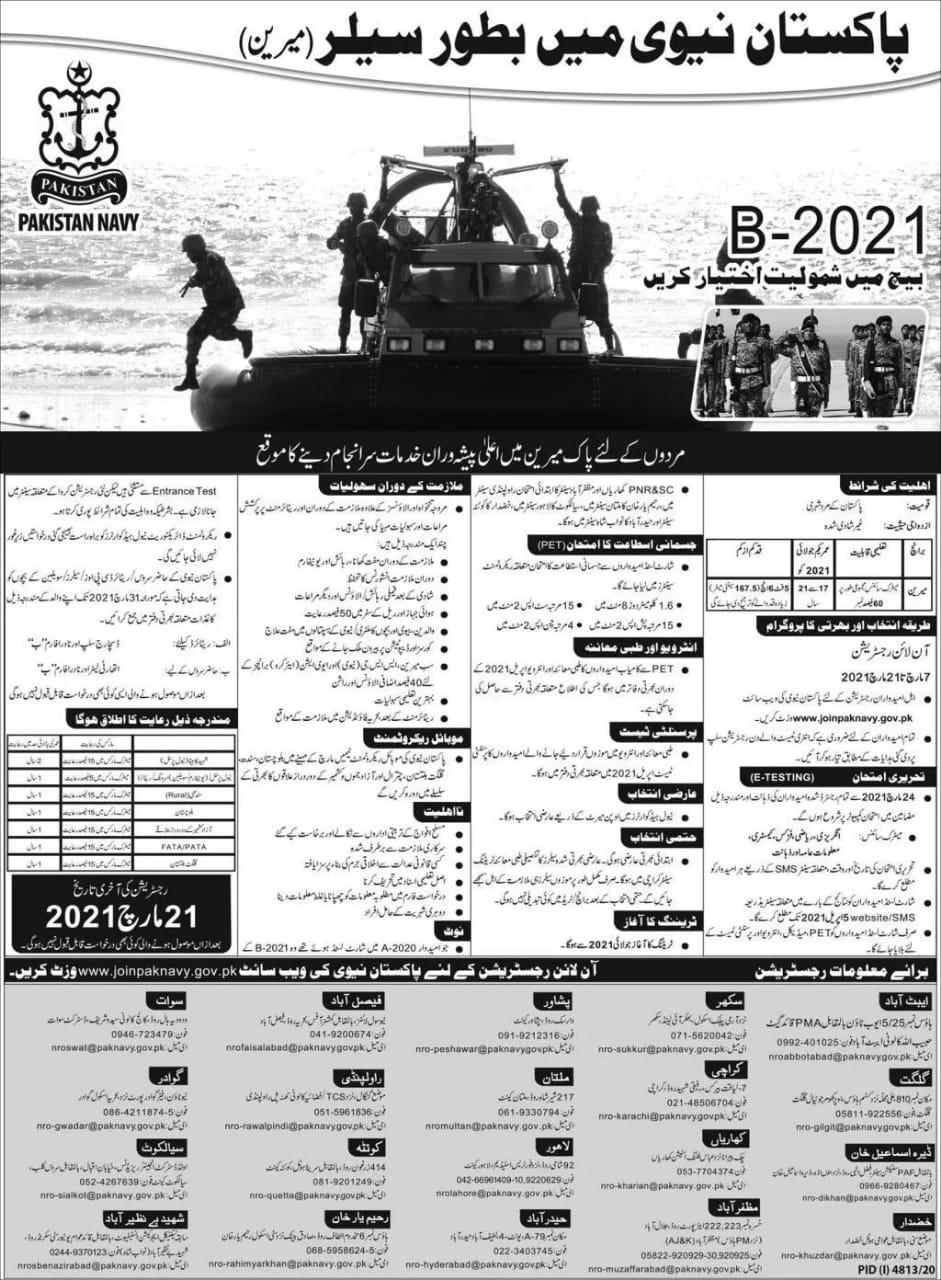 Latest Jobs in Pakistan Navy 2021
