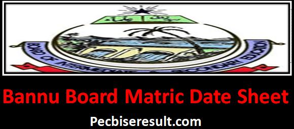 Ten Class Date Sheet of Bannu Board 2021