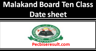 BISE Malakand Board date sheet of Matric 2021