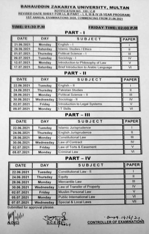 BZU LLB Course Guide lines