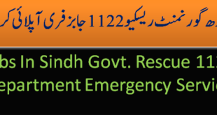 Apply for Rescue Department 1122 Jobs in Sindh Govt.